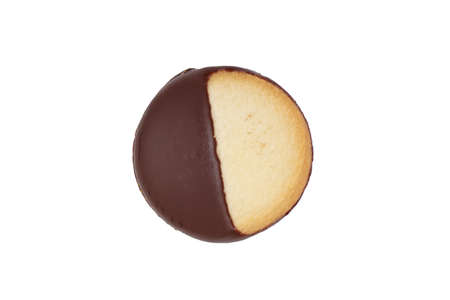 bickie: Heidesand (a type of German shortbread) cookie with one half covered in dark chocolate frosting