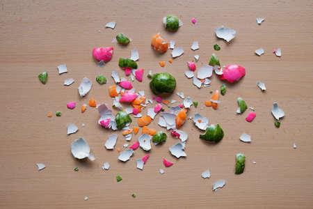 easteregg: colorful crushed easter egg shells on table