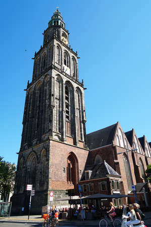 Groningen, Netherlands - May 27, 2017: Martini church and tower are named after patron saint St. Martin. Editorial