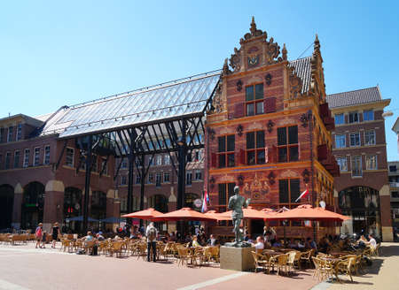 Groningen, Netherlands - May 27, 2017: Historic Goudkantoor (dutch for gold office) building and modern Waagstraat complex. Editorial