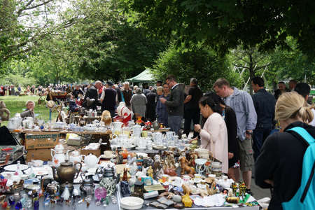 Hannover, Germany - June 17, 2017: The Altstadt-Flohmarkt (old town flea market) in Hannover is the oldest flea market in Germany and celebrates its 50th anniversary today.