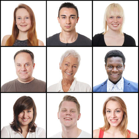collection of 9 headshots of multi-ethnic women and men ranging from 18 to 65 years