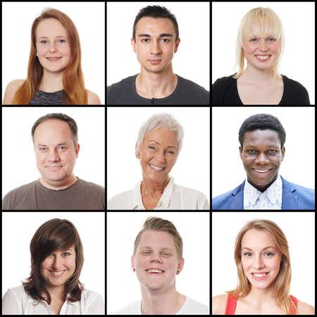 verzameling van 9 headshots van multi-etnische vrouwen en mannen, variërend van 18 tot 65 jaar