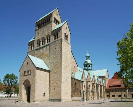 Hildesheim Cathedral is a medieval roman catholic church building in romanesque architecture style in the historic town of Hildesheim, Germany