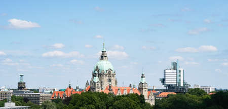 Hannover Germany skyline cityscape with new city hall at its center