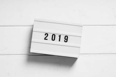 year 2019 on light box sign, minimalist preview or review concept Stock Photo
