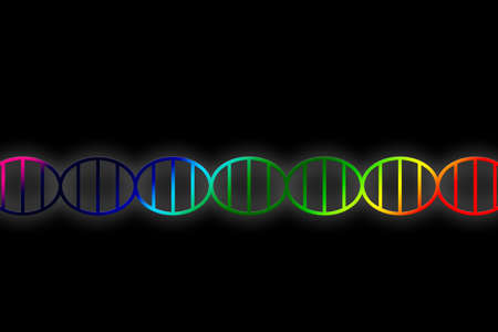 DNA double helix illustration in rainbow colors on black background, gene genome or genetic engineering concept