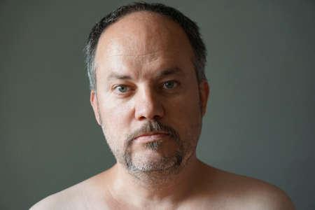 middle aged forty-something man with horseshoe or fu manchu mustache beard style Banco de Imagens