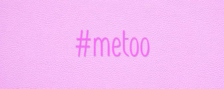 hashtag metoo on pink leather texture background - sexual harassment assault or violence concept
