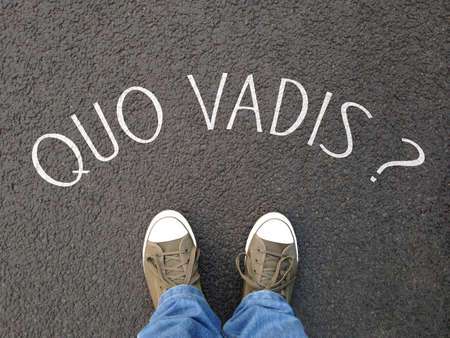 quo vadis is a latin phrase meaning where are you going - foot selfie on street with question written on asphalt - confusion destiny uncertainty concept 스톡 콘텐츠