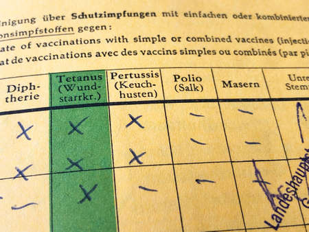Deutscher internationaler Impfausweis mit fehlenden Aufzeichnungen für Masern und Polio
