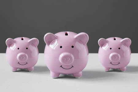 coin bank or piggybank or money box family - finance and savings concept with copy space Banque d'images