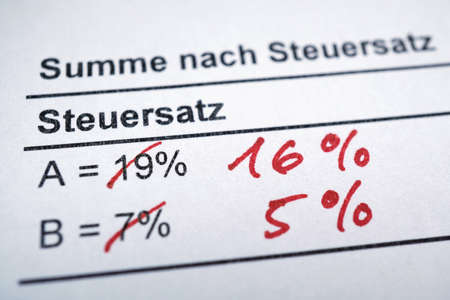 Mehrwertsteuer or MWSt - value-added tax in German - VAT reduction - macro with shallow depth of field - English translation: Total by tax rate 版權商用圖片