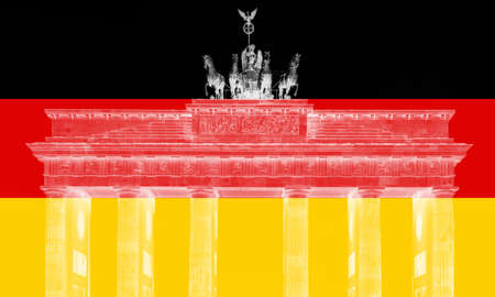 flag of Germany illustration with Berlin landmark Brandenburg Gate