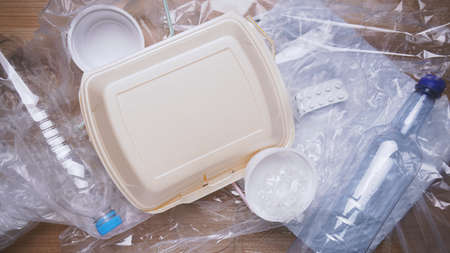 household plastic waste including bottles bags containers and packaging material 版權商用圖片