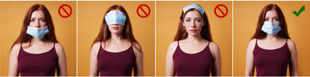humorous instruction collage on how to wear a protective face mask - young woman showing right and wrong way - corona coronavirus covid concept 版權商用圖片
