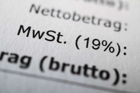 Mehrwertsteuer or MWSt - value-added tax or VAT in German - macro of receipt with shallow depth of field