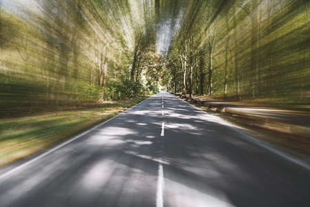 empty two-lane country road through woodland with motion blur speed effect - fast travel background with copy space