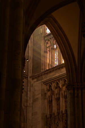 stone arches: Cologne cathedral with play of light in stone arches
