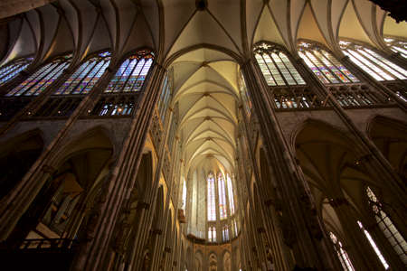 buttresses: Cologne cathedral inside Stock Photo