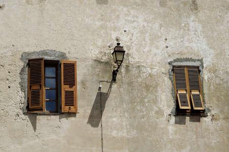 window shade: Corsican house with street lantern Stock Photo