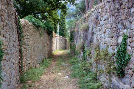 path to romance: Romantic Road between pasture walls