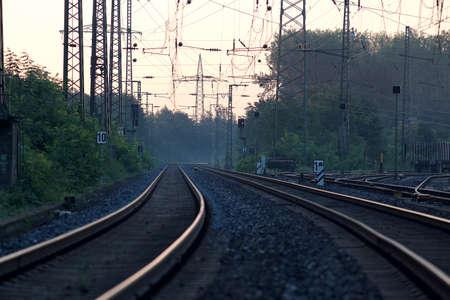 railroad tracks: Railroad Tracks in morning light to nowhere