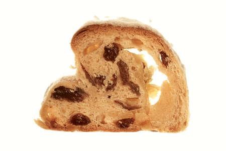 fruitcake: A slice of Christmas Stollen on white background Stock Photo