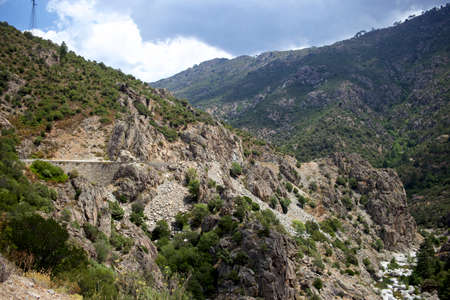 Serpentine road in the Golo valley in Corsica