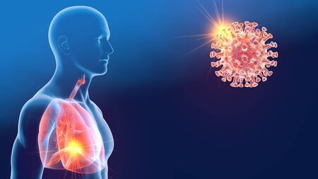 3D illustration showing corona virus, Sars, MERS virus, Middle East Respiratory Syndrome, pneumonia, lung Reklamní fotografie