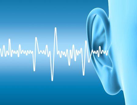 Ilustración 3D que muestra el oído humano con ondas sonoras Foto de archivo
