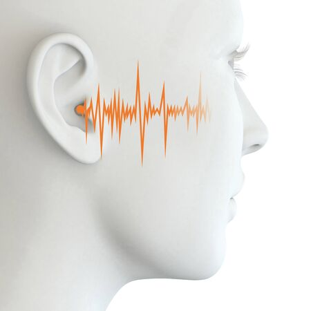 3D illustration showing human ear of a woman with soundwave Stock Photo