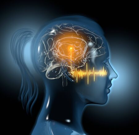 Tinnitus, sound waves and highlighted auditory cortex of a woman