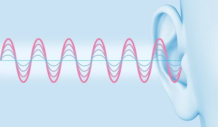Ear with sound waves, quit and loud