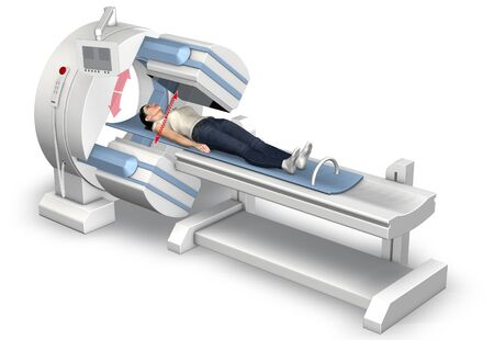 3D illustration showing a  patient on an examination couch
