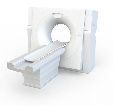 Medically 3D illustration showing a man in a CT machine
