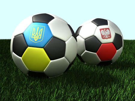 Soccer (football) balls on grass, with flags of Ukraine and Poland. 3d illustration. illustration