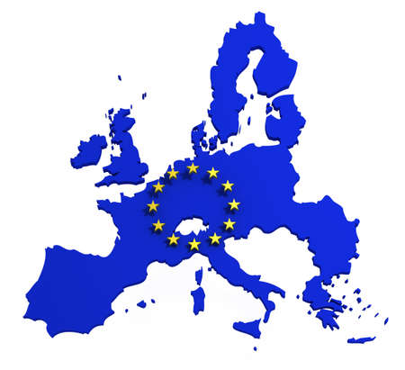 european community: Map of European Union with flag of EU, isolated on white, 3d illustration