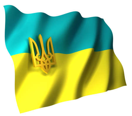 Flag of Ukraine with coat (trident), isolated on white, 3d illustration
