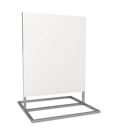 adboard: Blank white board for advertisement, isolated on white, 3d illustration