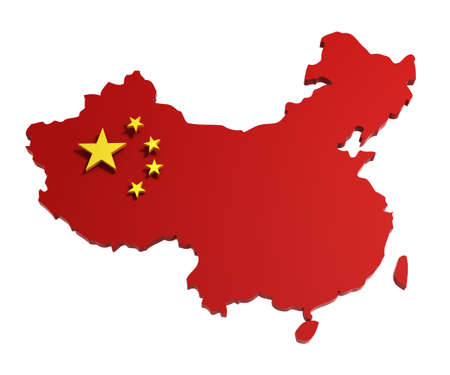 Map of People's Republic of China, with flag, isolated on white, 3d illustration