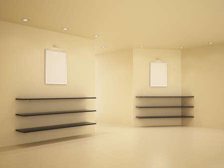 New room, clean inter, few shelves, 3d illustration Stock Illustration - 7939321