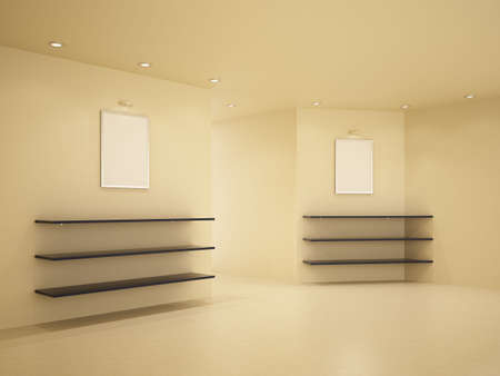 New room, clean interior, few shelves, 3d illustration Stock Illustration - 7939321