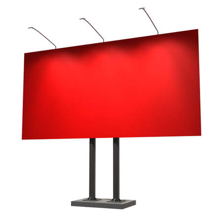 Blank red billboard, isolated on white, 3d illustration