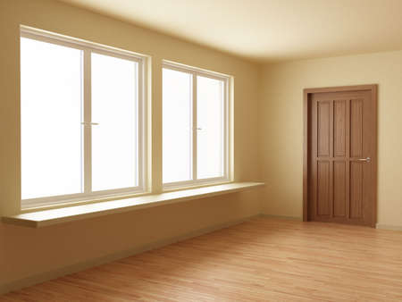 Empty new room, with wooden door and floor, 3d illustration