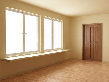 Empty new room, with wooden door and floor, 3d illustration