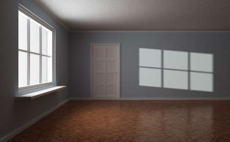 Empty room, with door and window, and sun highlight on the wall, 3d illustration illustration