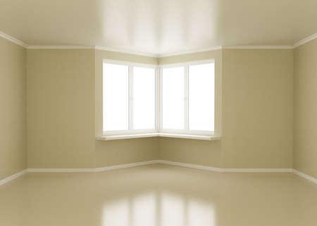 Empty room, windows in corner, 3d illustration