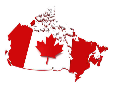 canadian flag: Canada, map with flag, clipping path, isolated, 3d illustration