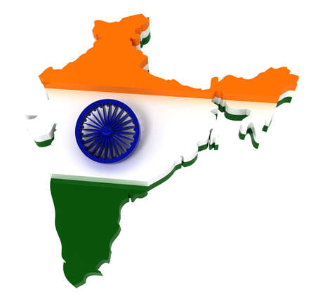 south india: India, map with flag, clipping path, isolated on white, 3d illustration